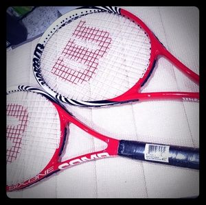 Tennis rackets new never used with ball